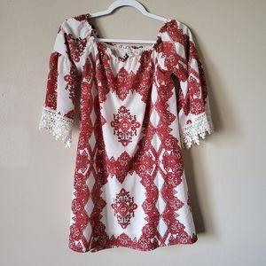Skylar & Jade Red Boho Paisley Crochet Blouse Med